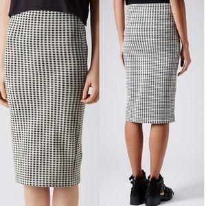 Topshop gingham pencil skirt